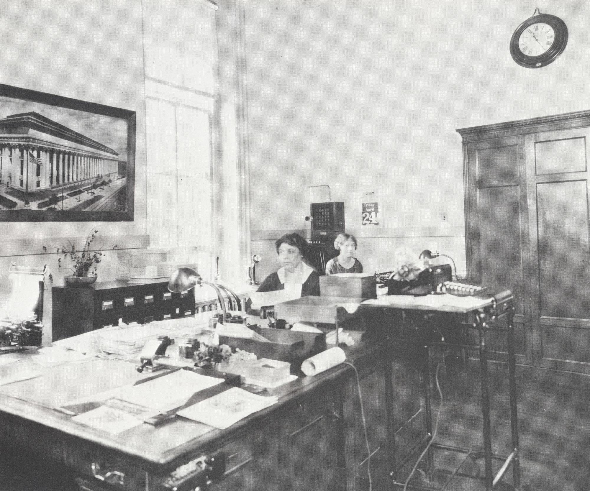 Frances Brown in school office