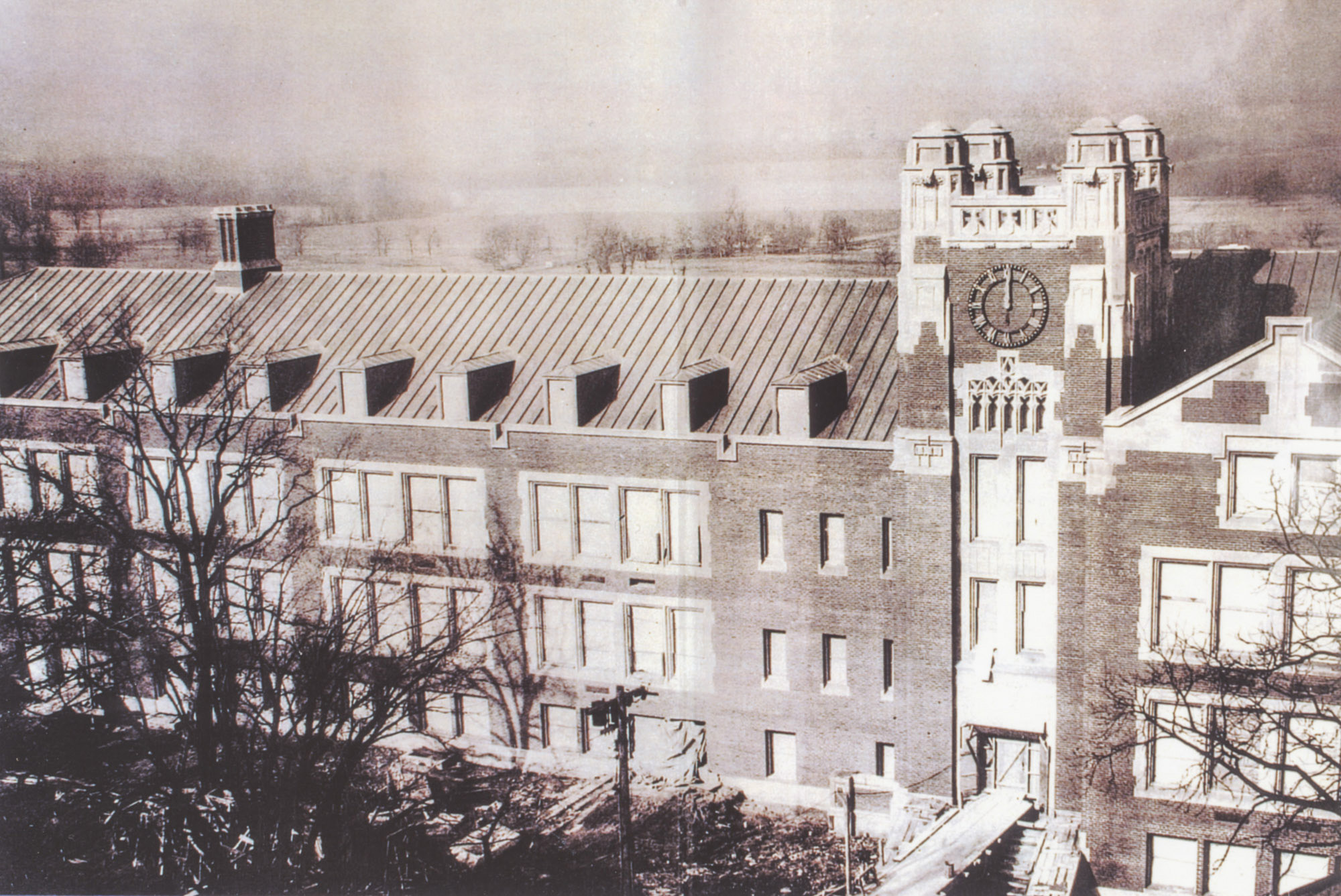 Class Room and Administration building (later Sturges Hall) under construction