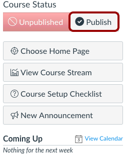Course Publish button