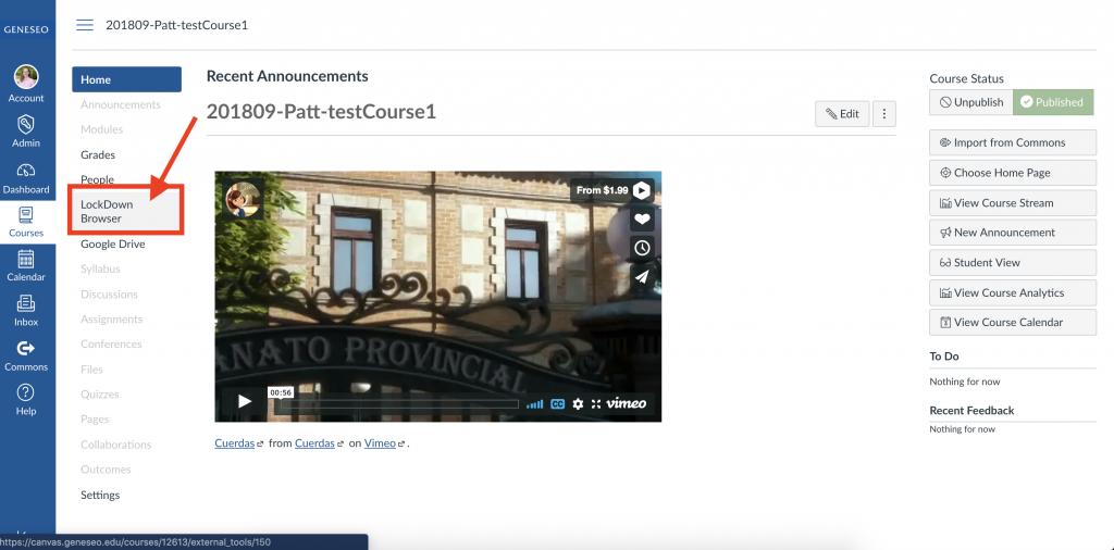 Course homepage showing LockDown Browser menu option