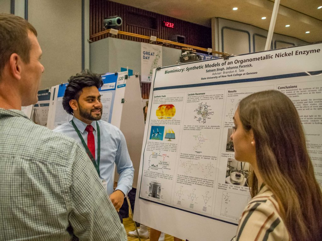 Satnam and Johanna talk to Dr. Peterson about their work in synthesizing models of the enzyme lactate racemase.