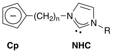 chemical structure of a bifunctional ligand consisting of a cyclopentadienide group and an N-heterocyclic carbene functional group, linked by hydrocarbon tether.