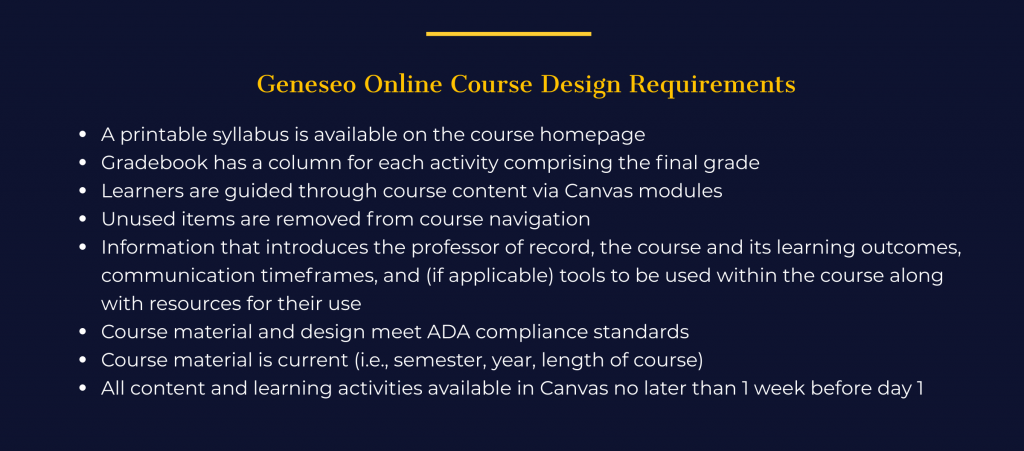 Slide reintroducing Geneseo's minimum course design requirements for online courses.