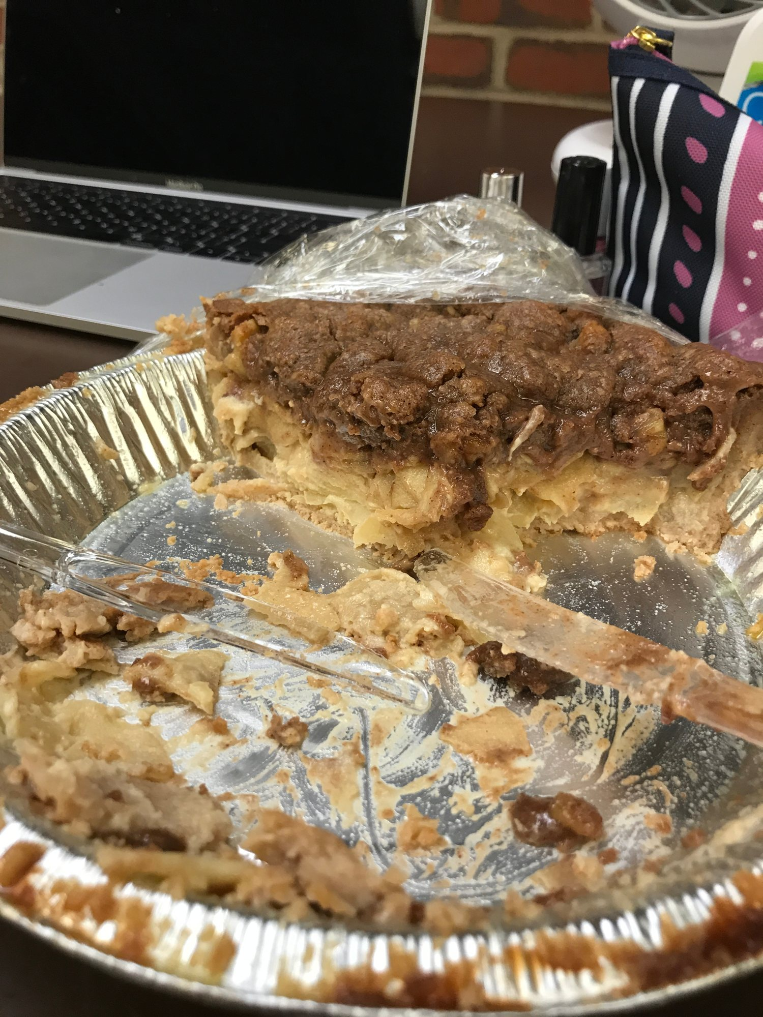Photo of pie plate with only one slice remaining