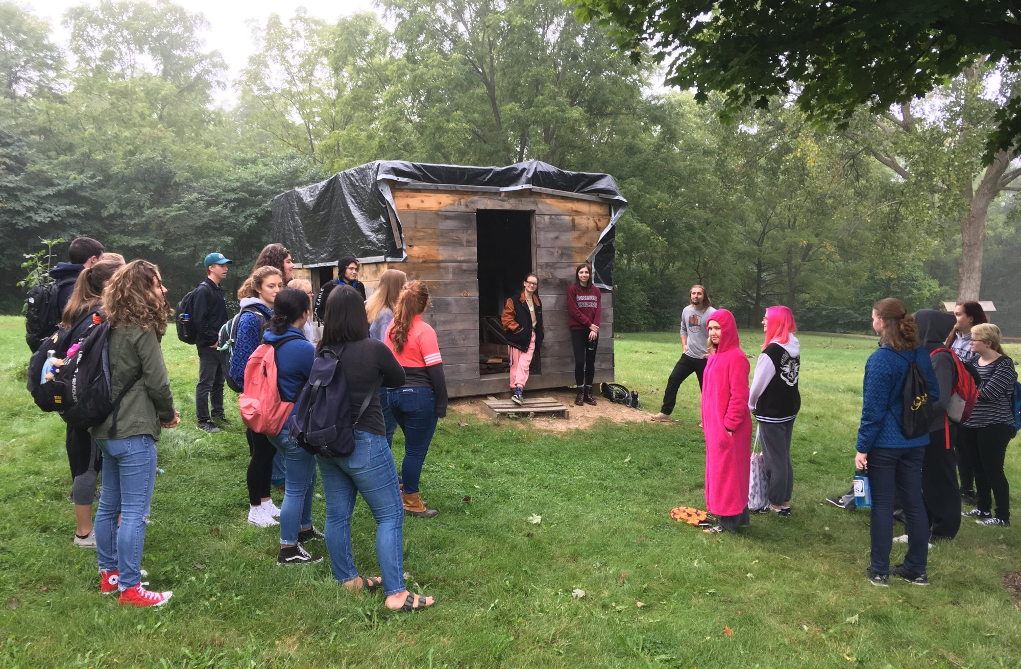 Replica of Henry David Thoreau's cabin being constructed by students of Prof. Edward Gillin at SUNY Geneseo