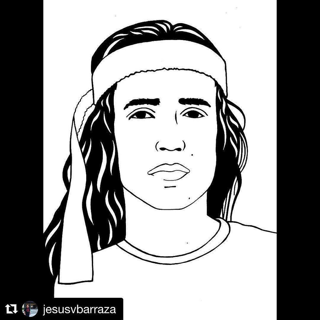 Line drawing of environmental activist Xiuhtezcatl Martinez
