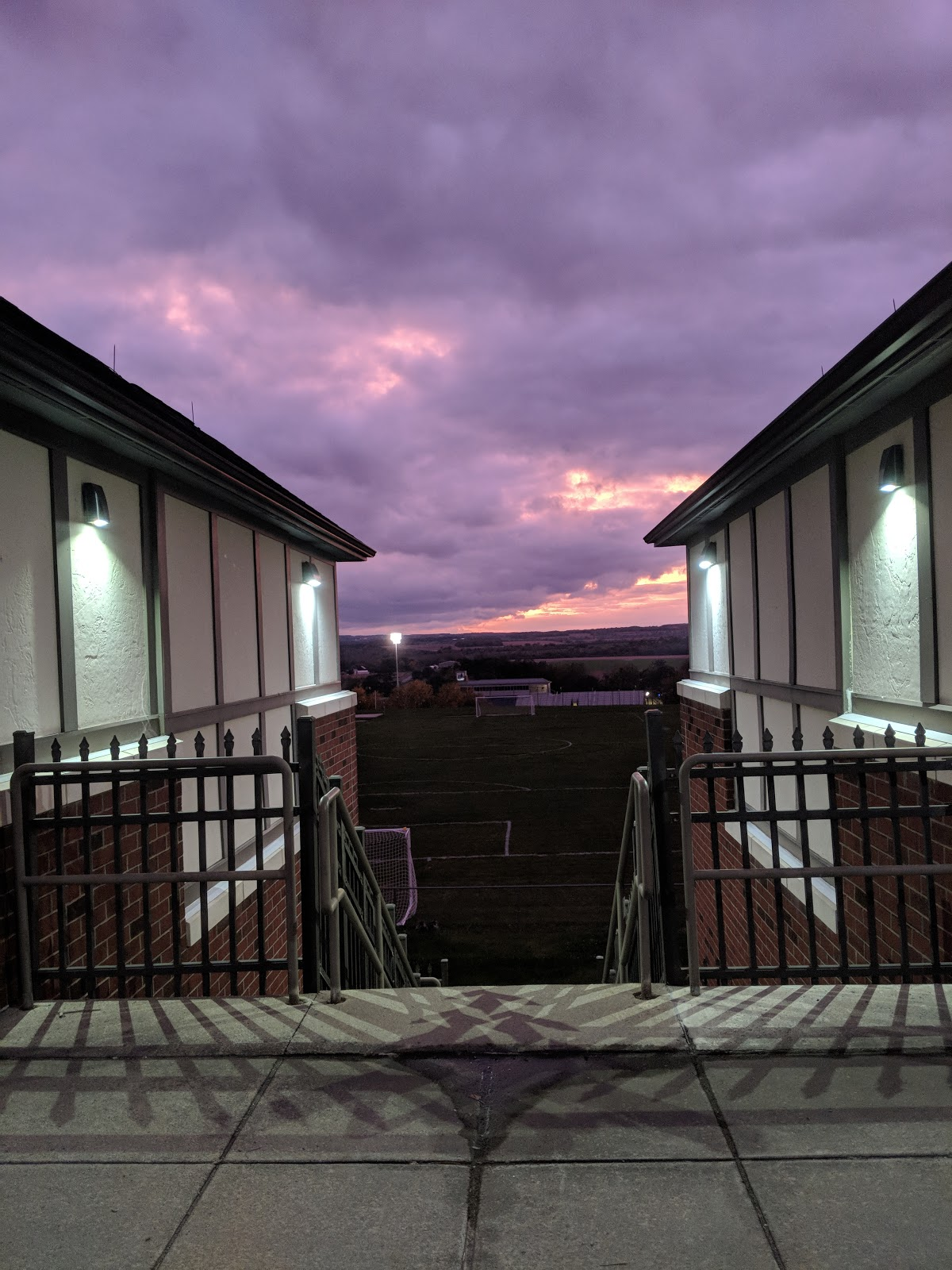 Photograph of sunset as seen through of SUNY Geneseo townhouse residences